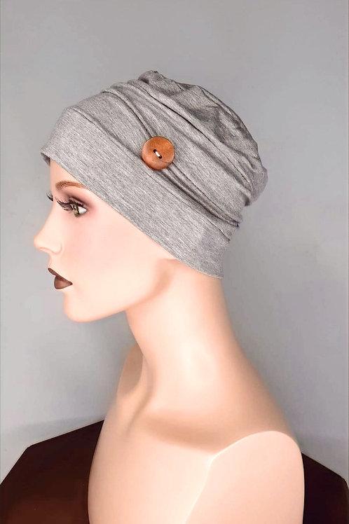 turbante de algodón  con botones de madera  color gris