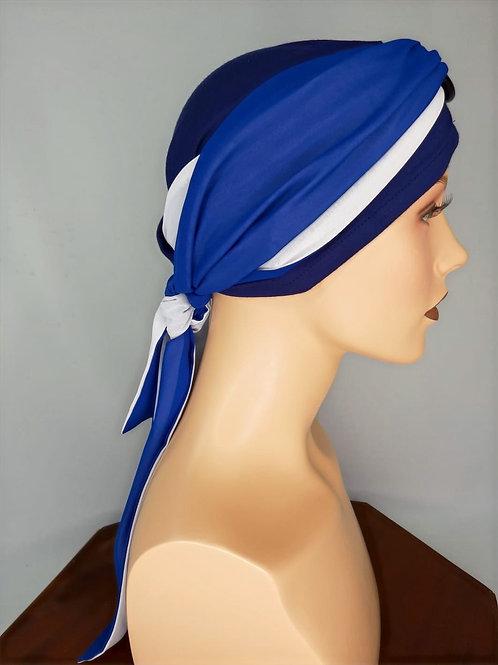 turbante para pieles sensibles  en colores azulinos
