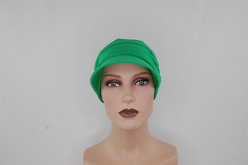 turbante visera en tela de bambú  color  verde , muy suaves especiales para pieles sensibles