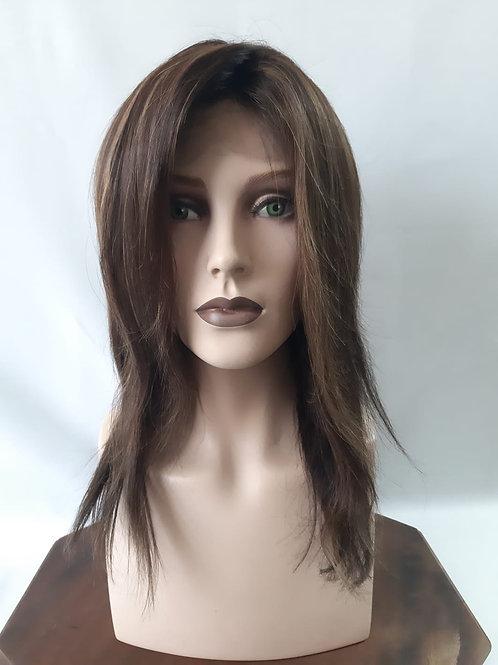 Peluca de cabello natural  castaño oscuro con balayage en tonos miel chocolate