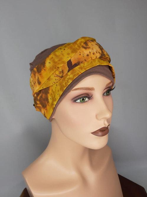 gorrita con pañuelo en base de tela de bambú ,para alopecias