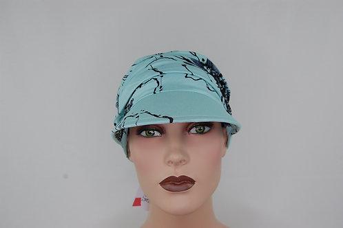 turbante visera en tela de bambú  color  celeste , muy suaves especiales para pieles sensibles