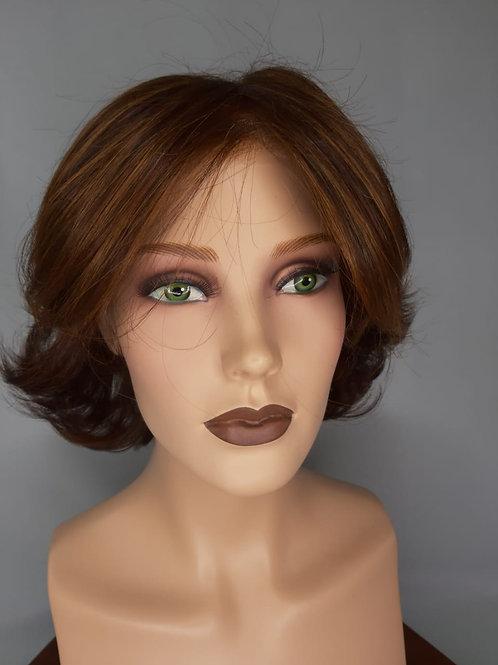 peluca de cabello corto ,fibra indetectable con monofilamento y lace front