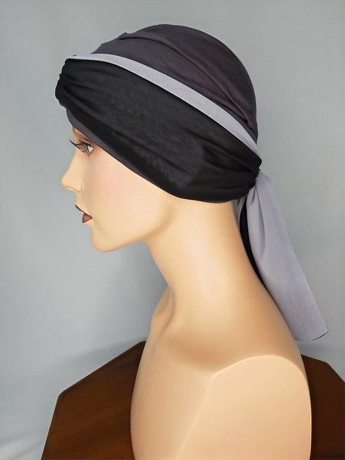 turbante plomo oscuro con pañuelo para anudar
