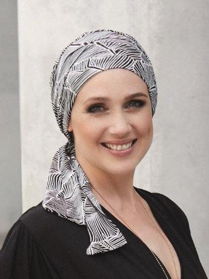 turbante en blanco y negro  en tela de bambú, para pieles sensibles o calvicie temporal o definitiva