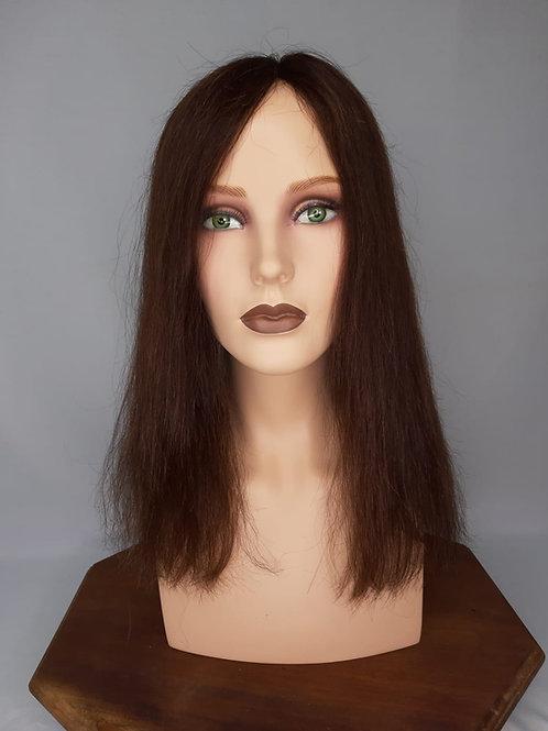 prótesis capilar de cabello natural color castaño claro para sujetar con clips