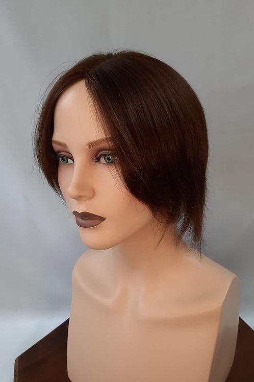 Prótesis de cabello natural color castaño mediano ,indetectable para disimular alopecia ,calvicie se sujeta con clips