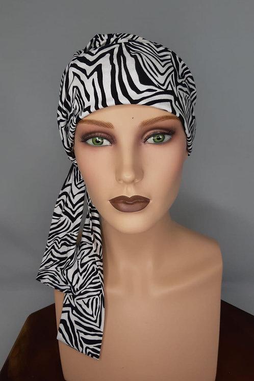 Turbante en tela de bambú con lazos largos,elegante y confortable para cubrir alopecias