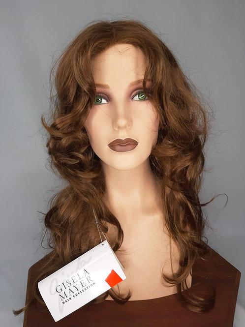 pelucas para pegar con cintas adhesivas en la parte superior color castaño