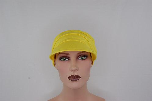 turbante visera en tela de bambú  color  amarillo patito , muy suaves especiales para pieles sensibles