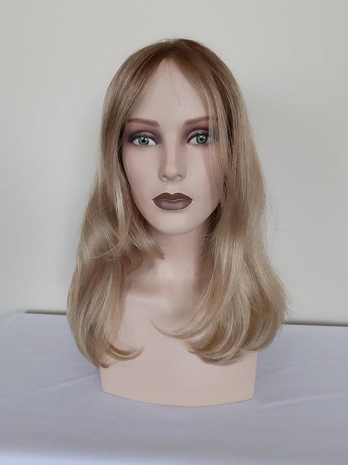 peluca rubia en fibra de alta gama(sintética), indetectable, con monofilamento y lace front