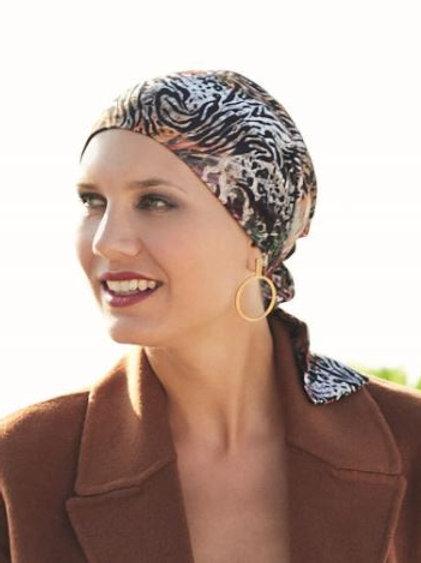 turbante estampado, animal print para oncología ,pieles sensibles, de tela de bambú