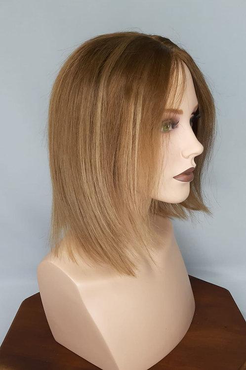 Peluca de cabello natural con monofilamento y lace front indetectable color rubio claro con iluminaciones