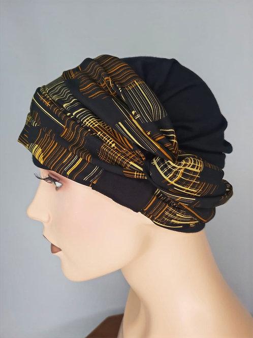 turbante negro base de bambú con pañuelo