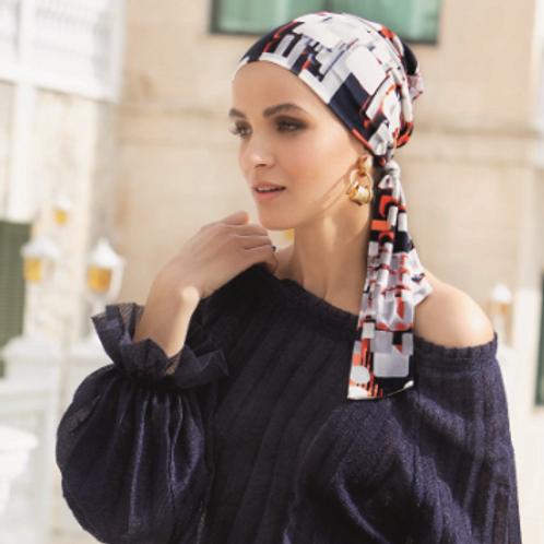 Turbante oncológico con tirar para anudar, de tela de bambú, confortable y suave, estampado unico