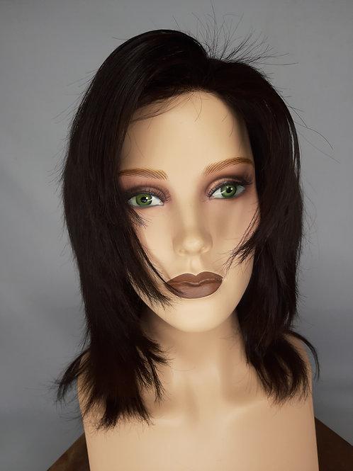 peluca de cabello humano , corte degrade, en castaño oscuro indetectable