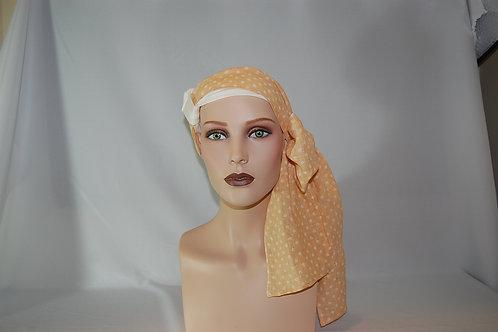 turbante crema con pañuelo de tela de bambú