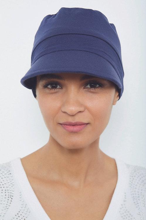 turbante-visera-gorrita en tela de bambú, suave para pieles sensibles en color azul marino