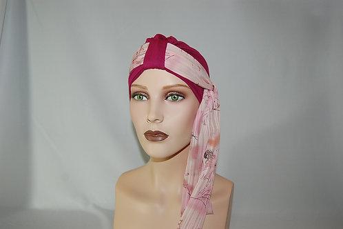 Turbante de gorrita hecha en tela de bambú color fucsia con pañuelo, con pañuelo de otra textura