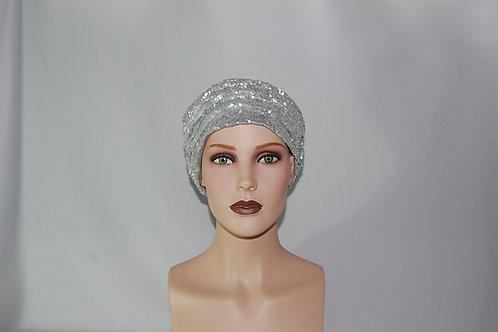 Turbante de lentejuelas   con forro de tela de algodón  color Plateado