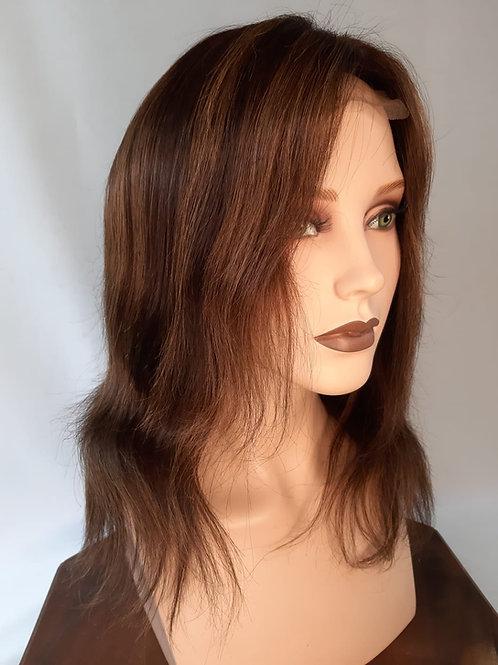 peluca de cabello natural con balayage