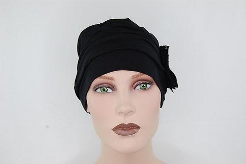 Turbante negro con forro todo en tela de bambú, para piel sensible