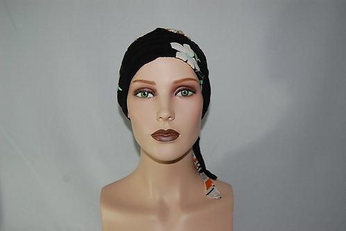 Turbante  de tela chalis con estampado  .