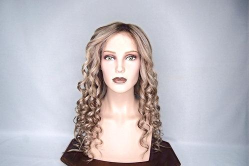 peluca indetectable oncológica  rubio platinado con iluminaciones