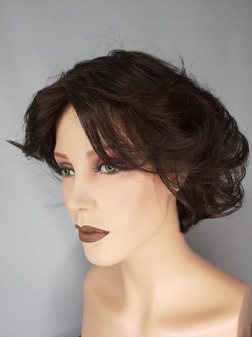 peluca de fibra ondulada color castaño oscuro color 6