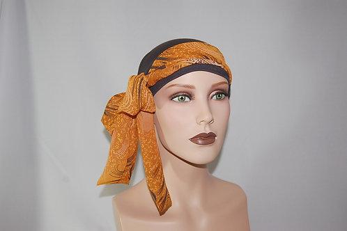 turbante color marrón con pañuelo de gaza