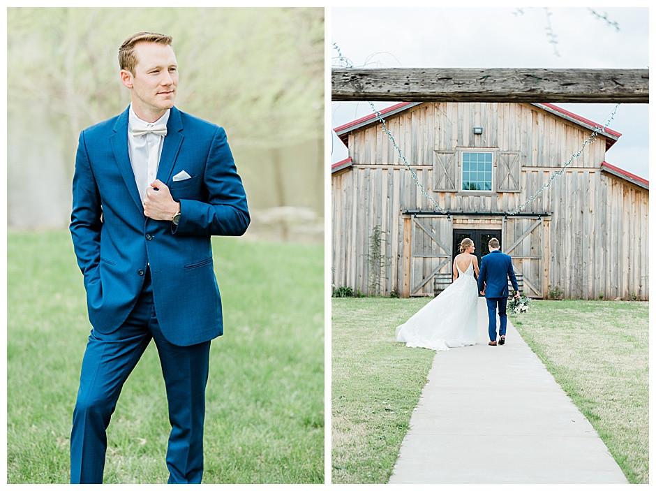 Bride and groom walking to Rustic Rose Barn.