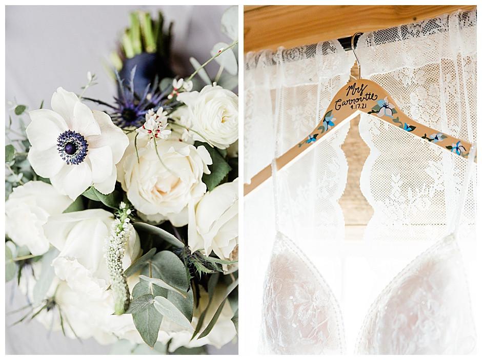 Wedding dress hanger and flower bouquet.