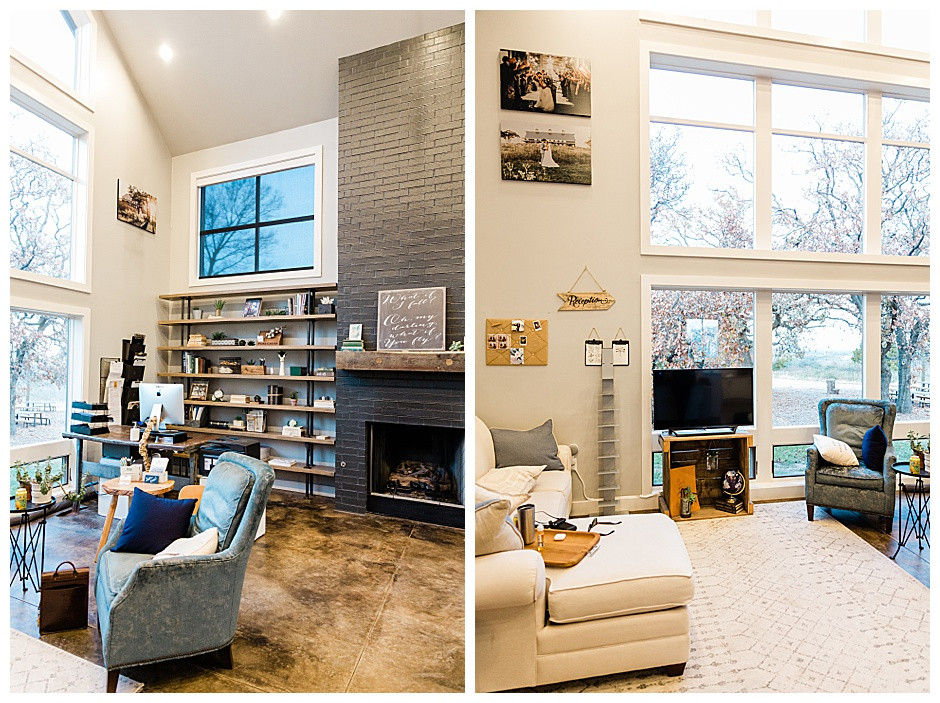 Photos of interior office with black brick fireplace.