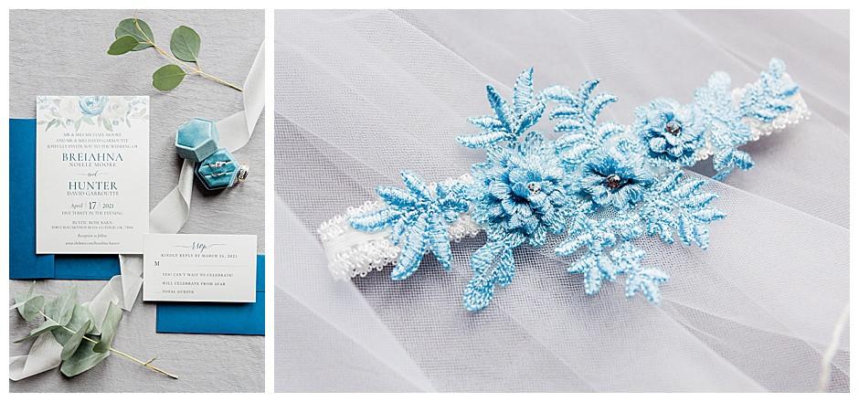Wedding invitation and blue wedding garter.