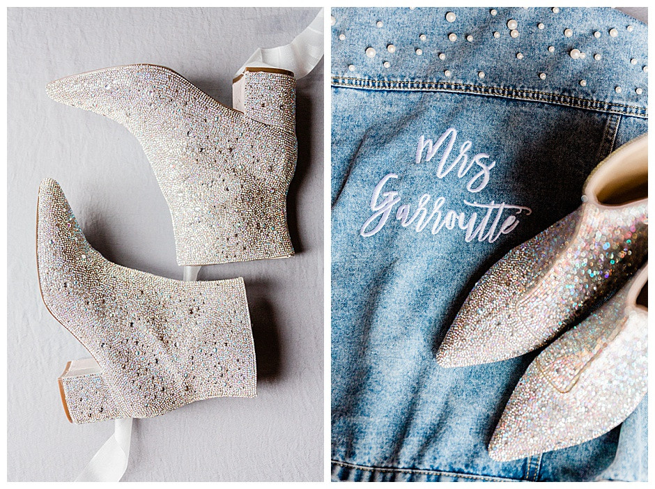 Sparkly boots and a denim jacket.