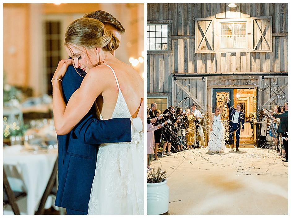 Bride and groom streamer exit.