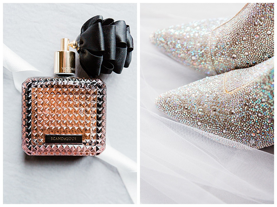 Perfume bottle and sparkly boots.