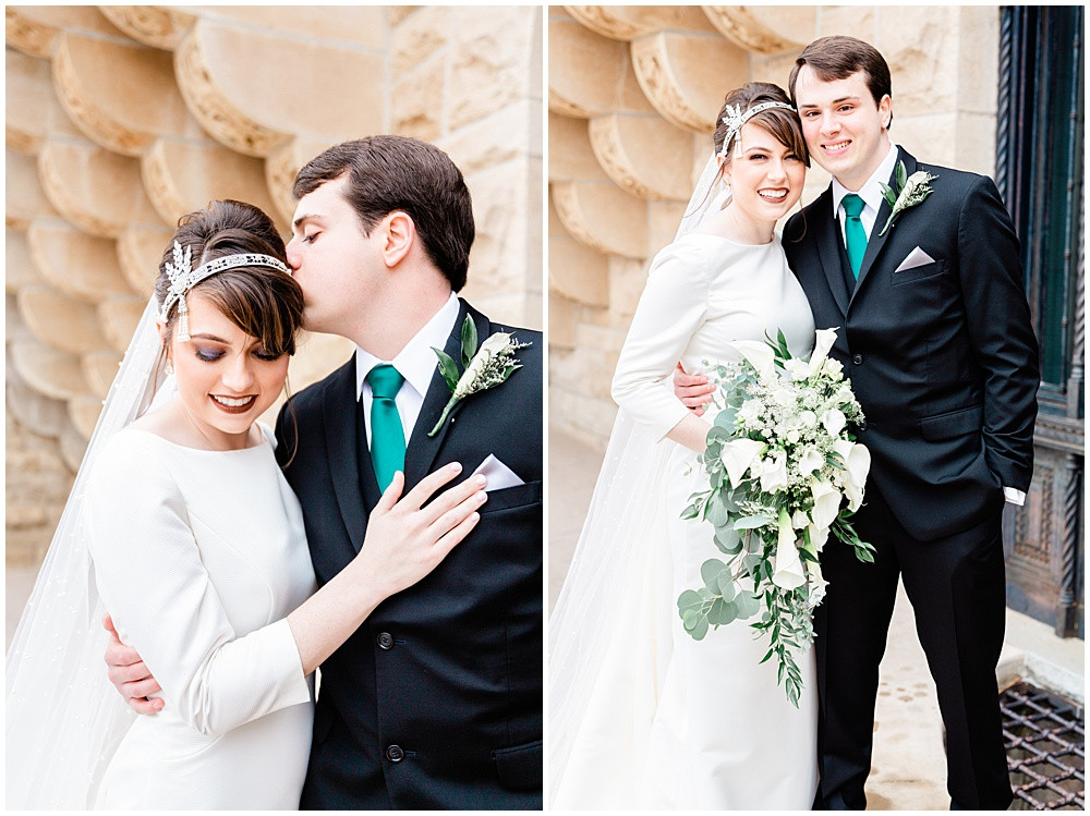 Couple smiling at the camera for wedding photos.
