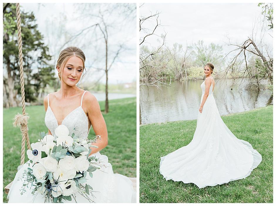 Bride on swing.