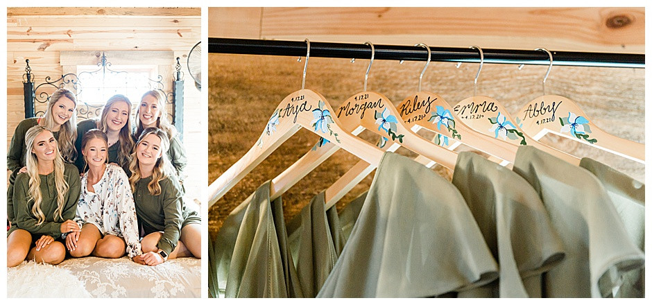 Bridal party on bed and gowns on hangers.