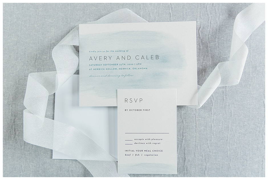 Basic Invite Wedding Invitation Dusty Blue