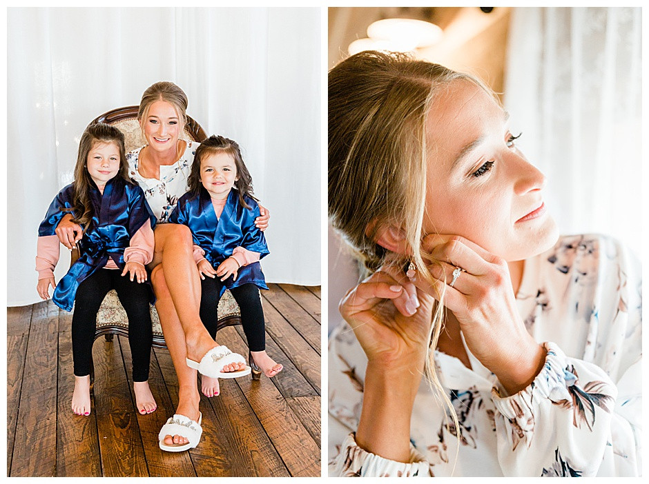 Bride with flower girls and putting on earrings.