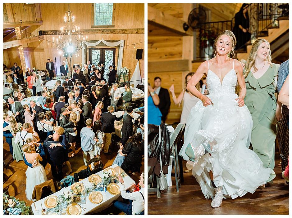 Guests and bride dancing at wedding reception.