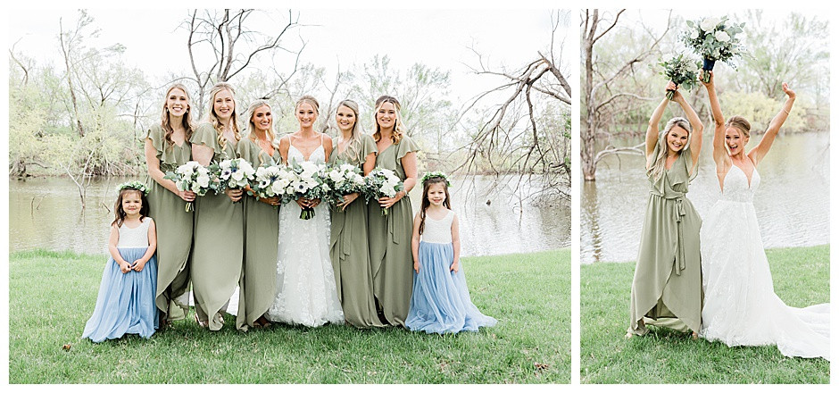 Bride with flower girls and bridesmaids.