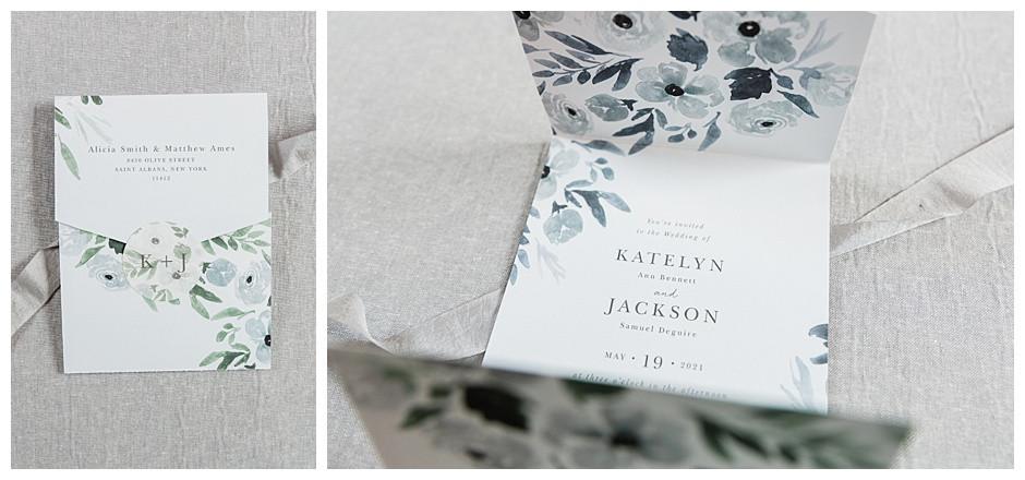 Basic Invite Blue Floral Wedding Invitation and Sticker Closure