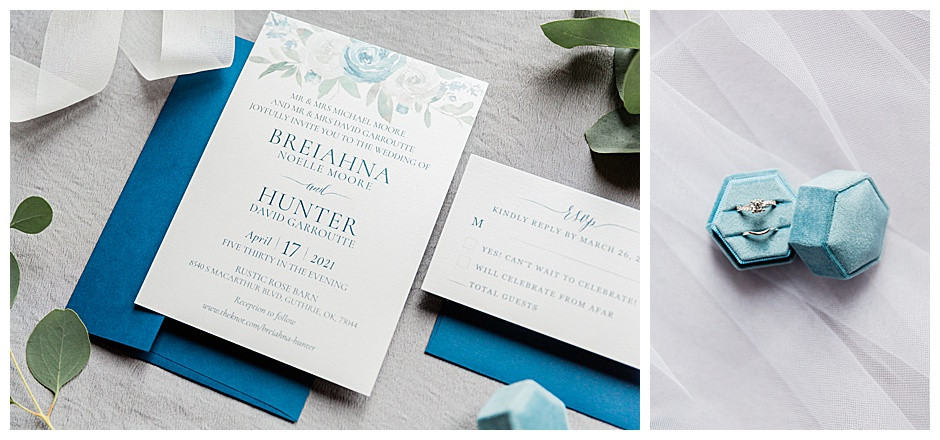 Ring in blue box and wedding invitation.