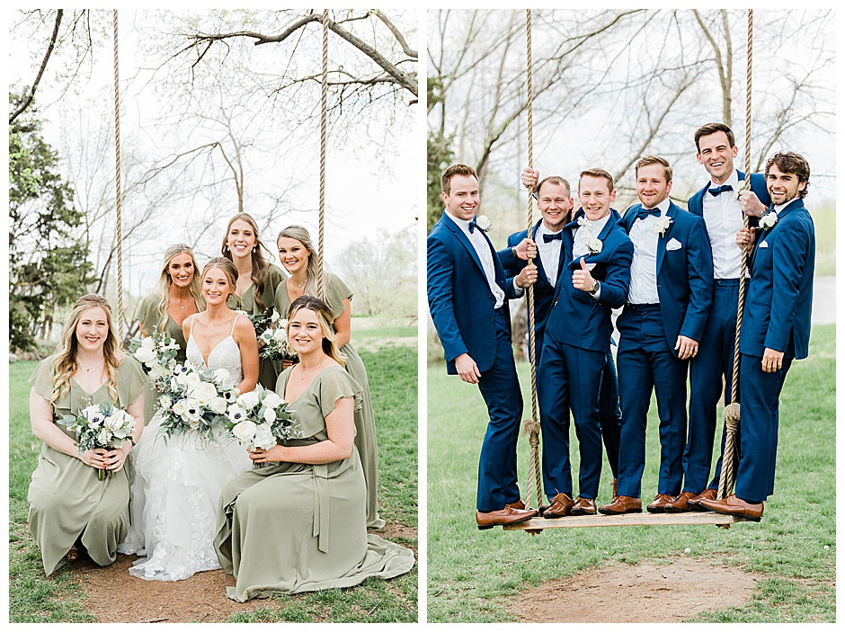 Bridesmaids and groomsmen on swing.