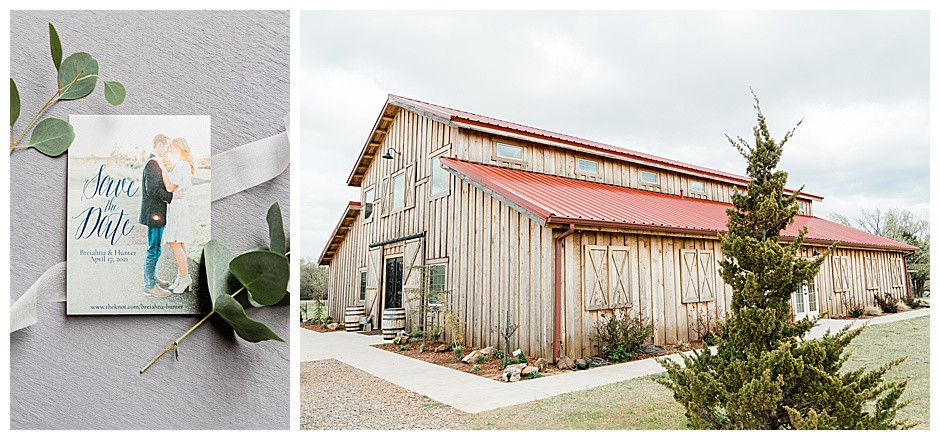Exterior of the Rustic Rose Barn and a photo of a save the date invitation.