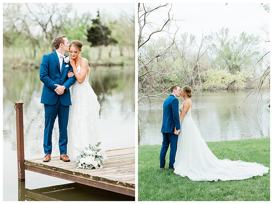 Bride and groom kissing near a lake.