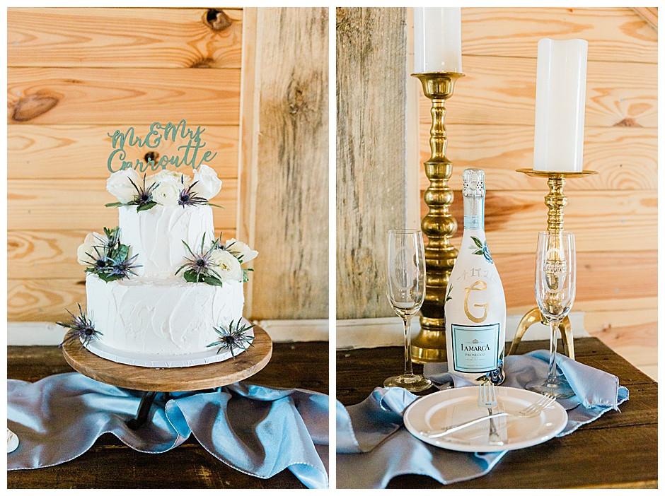 Wedding cake and wine.